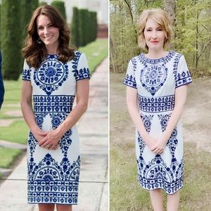 Replikate of white and blue dress